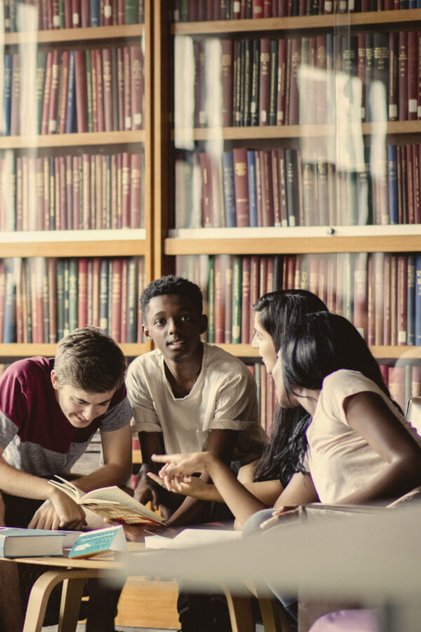 Young students in a library.